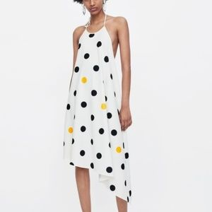 NEW Zara Polka Dot Halter Asymmetrical Dress Sz S